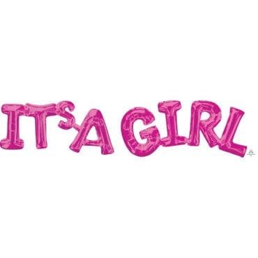 """Balão Foil SuperShape frase """"It's A Girl"""" Rosa"""