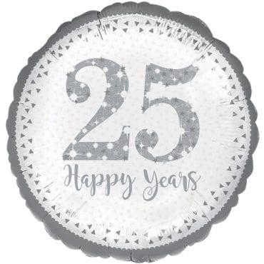 Balão Foil  25º Aniversário Prateado