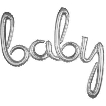 """Balão Foil SuperShape frase """"Baby"""" Prateado"""