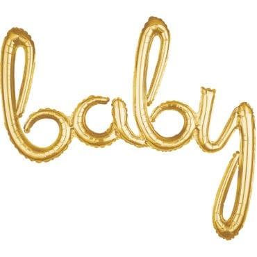 """Balão Foil SuperShape frase """"Baby"""" Dourado"""