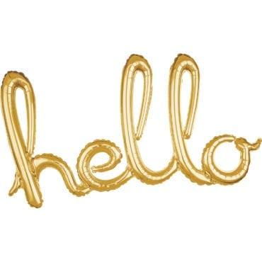 """Balão Foil SuperShape frase """"Hello"""" Dourado"""