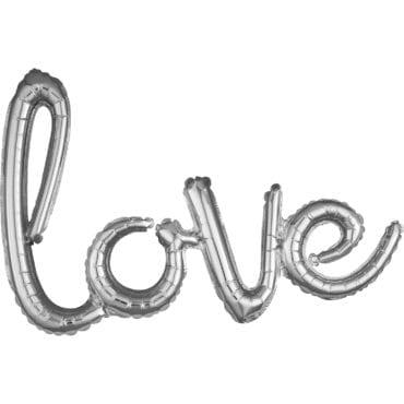 "Balão Foil SuperShape frase ""Love"" Prateado"