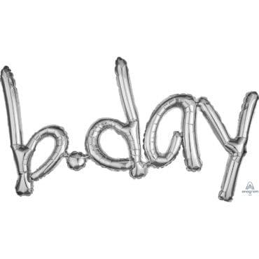 "Balão Foil SuperShape Frase ""B.Day"" Prateado"