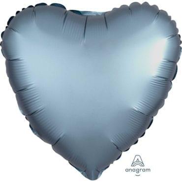 Balão Foil  Mate Coração Azul Cinza