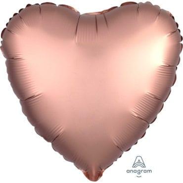 Balão Foil  Mate Coração Rose Gold