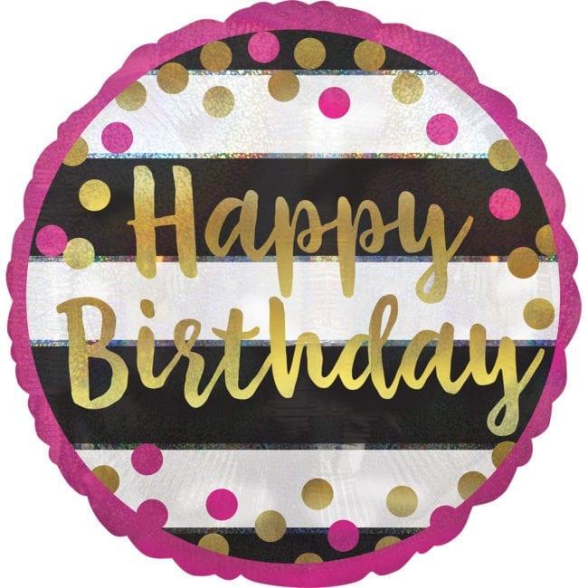 Balão Foil  Happy Birthday Pink & Gold