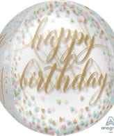 Balão Foil Orbz Happy Birthday Confetti Fun