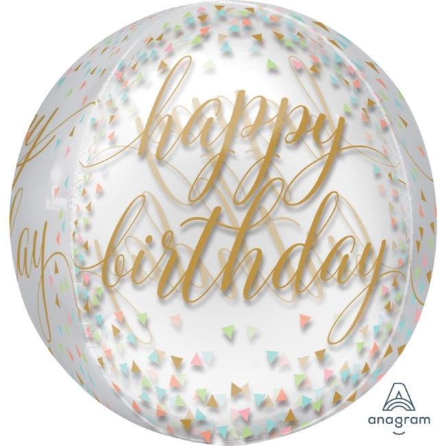Balão Foil Orbz Happy Birthday Confetti Fun