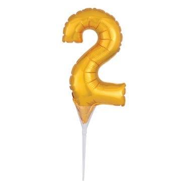 Topo de Bolo Balão Foil 6'' Dourado nº 2