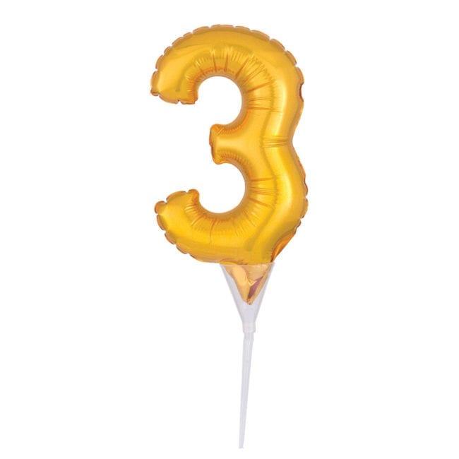 Topo de Bolo Balão Foil 6'' Dourado nº 3