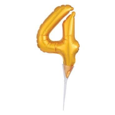 Topo de Bolo Balão Foil 6'' Dourado nº 4