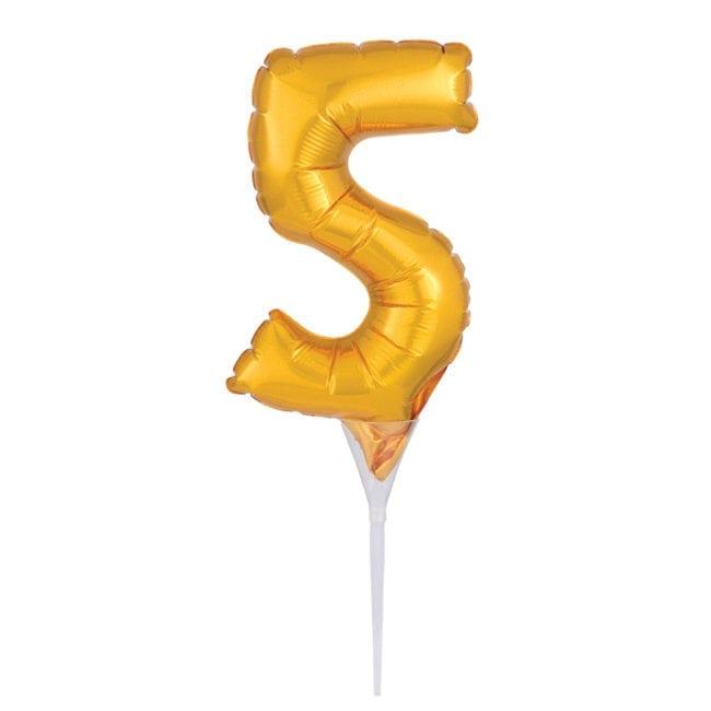 Topo de Bolo Balão Foil 6'' Dourado nº 5