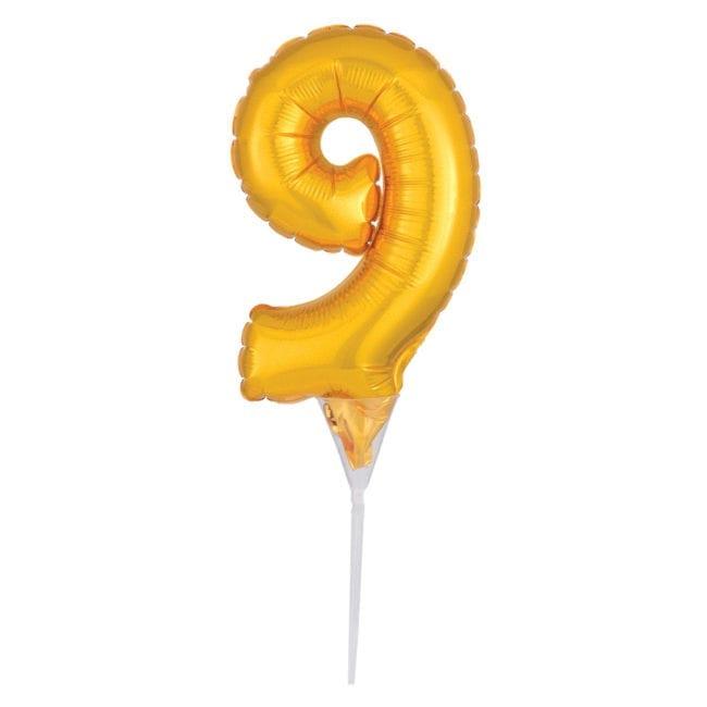 Topo de Bolo Balão Foil 6'' Dourado nº 9