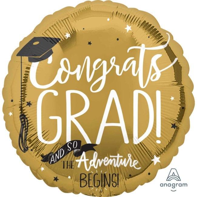 """Balão Foil SuperShape """"The Adventure Begins"""" Graduação"""