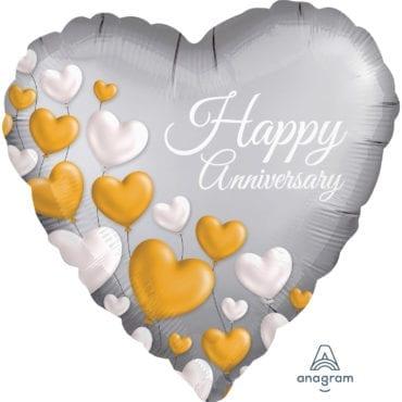 Balão Foil  Happy Anniversary Corações