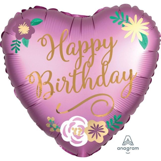 Balão Foil  Mate Happy Birthday Flores