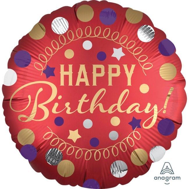 Balão Foil  Mate Happy Birthday Vermelho