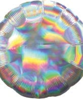 Balão Foil   Redondo Prateado Iridescente