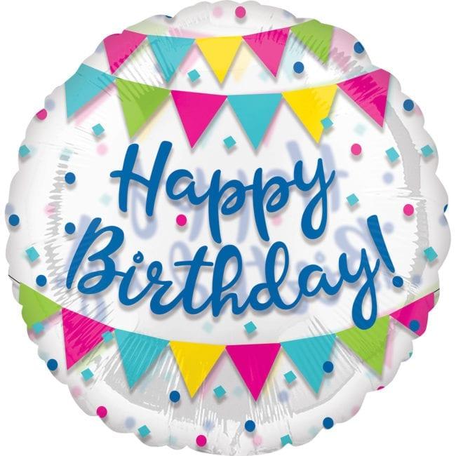 Balão Foil Jumbo SuperShape Clear Happy Birthday Colorido