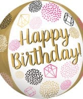 Balão Foil Orbz Happy Birthday Diamantes