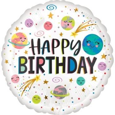 Balão Foil  Smiling Galáxia Happy Birthday Espaço
