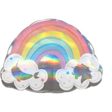 Balão Foil SuperShape  Arco-Íris (Unicórnio & Narwhal) Holográfico