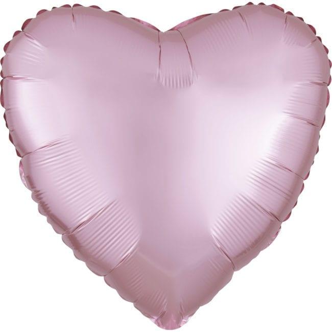 Balão Foil  Mate Coração Rosa Claro Pastel