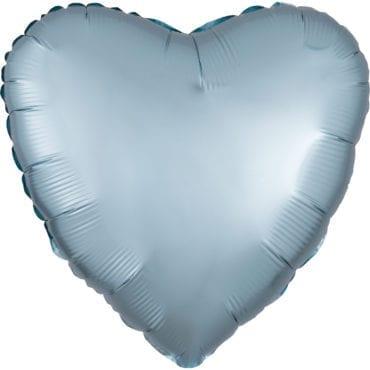 Balão Foil  Mate Coração Azul Claro Pastel