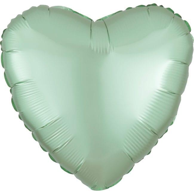 Balão Foil  Mate Coração Verde Menta