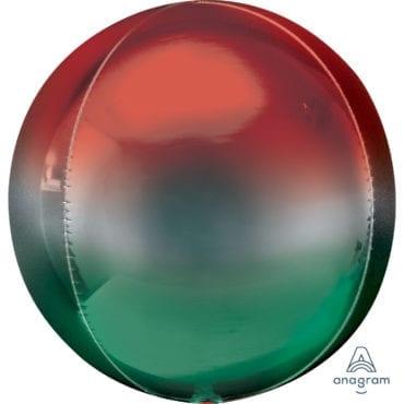 Balão Foil Orbz Ombre Vermelho & Verde