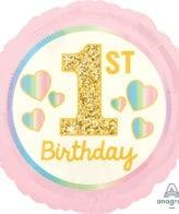 Balão Foil  1st Birthday Girl Rosa & Dourado