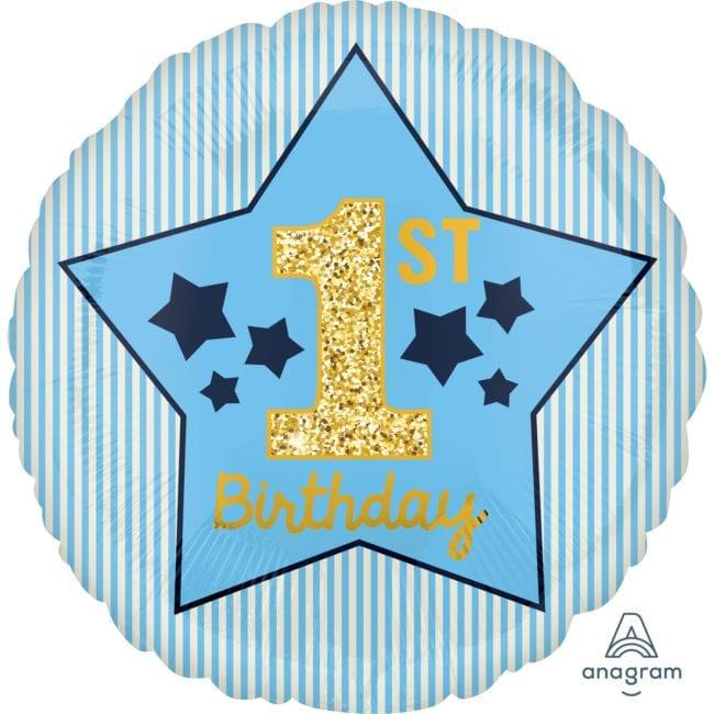 Balão Foil  1st Birthday Boy Azul & Dourado