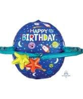 Balão Foil UltraShape Happy Birthday Galáxia - Espaço