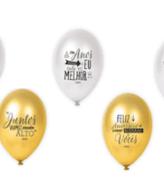 Balões latex 12'' cor Sortido 5 Frases Ubalão