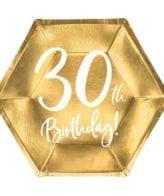 """Pratos Hexagonais Dourados """"30 th Birthday"""""""