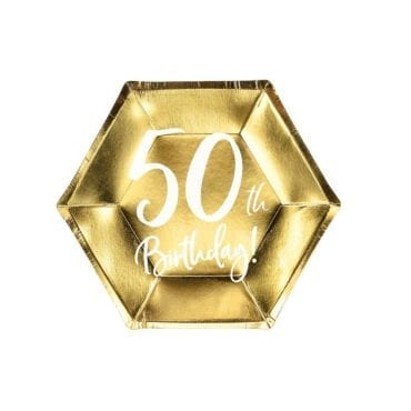 "Pratos Hexagonais Dourados ""50 th Birthday"""