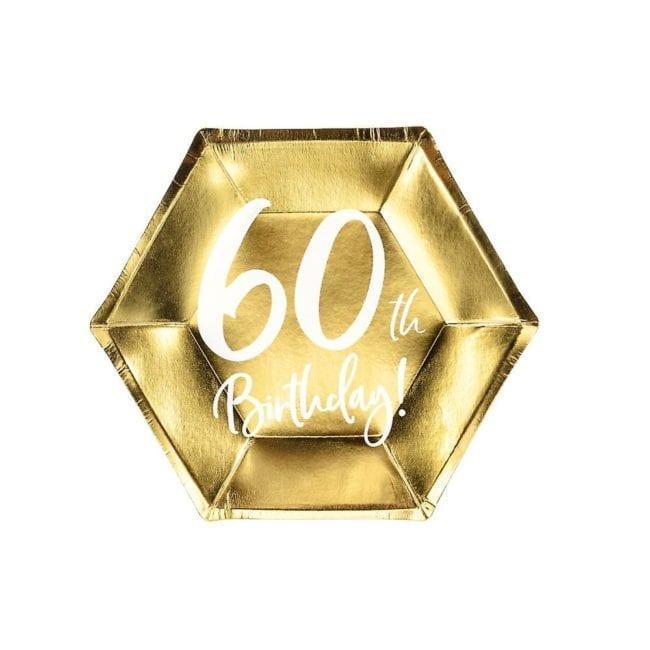 """Pratos Hexagonais Dourados """"60 th Birthday"""""""