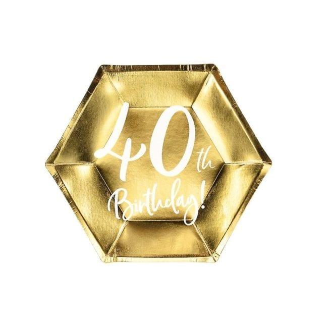 """Pratos Hexagonais Dourados """"40 th Birthday"""""""