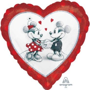 Balão Foil  Coração Minnie & Mickey Mouse