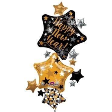 "Balão Foil SuperShape   ""New Year Star Stacker"" Estrelas"