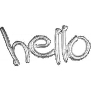 """Balão Foil SuperShape frase """"Hello"""" Prateado"""