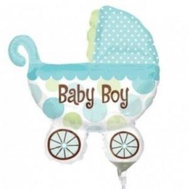 Balão Foil SuperShape Carrinho de Bebé Menino