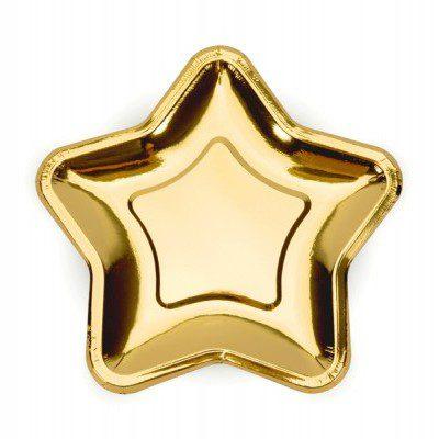 Pratos Dourados em formato Estrela (18 cm)