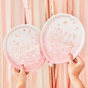 """Pratos formato Balão cor de rosa/ rose gold """"Happy Birthday"""""""