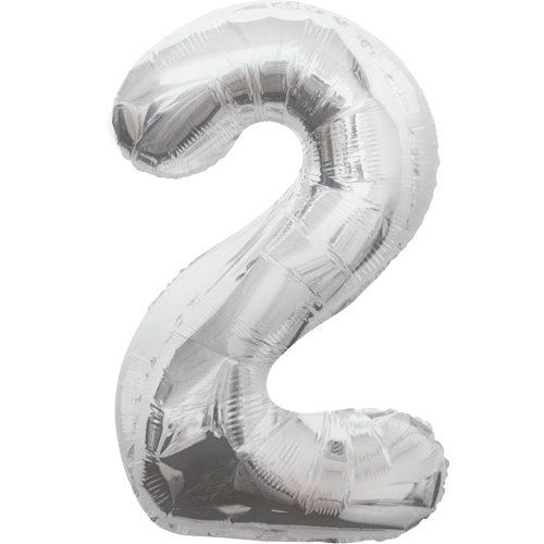 Balão Grande Número 2 Prateado 34″