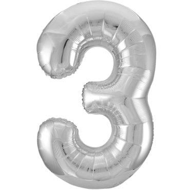 Balão Grande Número 3 Prateado 34″