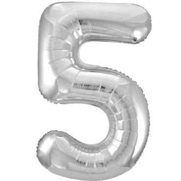 Balão Grande Número 5 Prateado 34″