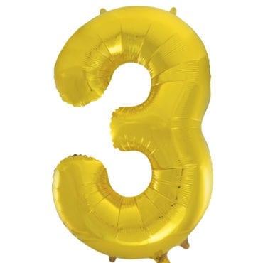 Balão Grande Número 3 Dourado 34″