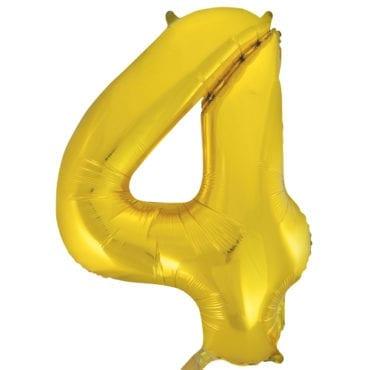 Balão Grande Número 4 Dourado 34″