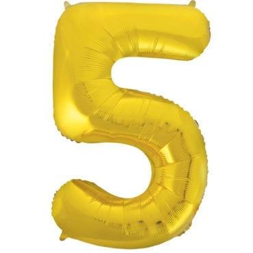 Balão Grande Número 5 Dourado 34″